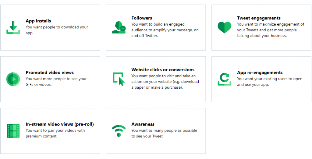 Twitter Ad's 8 Objectives