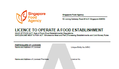 Singapore Food Agency License to Operate