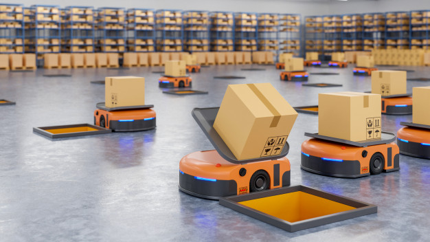 Robots sorting parcels in a warehouse
