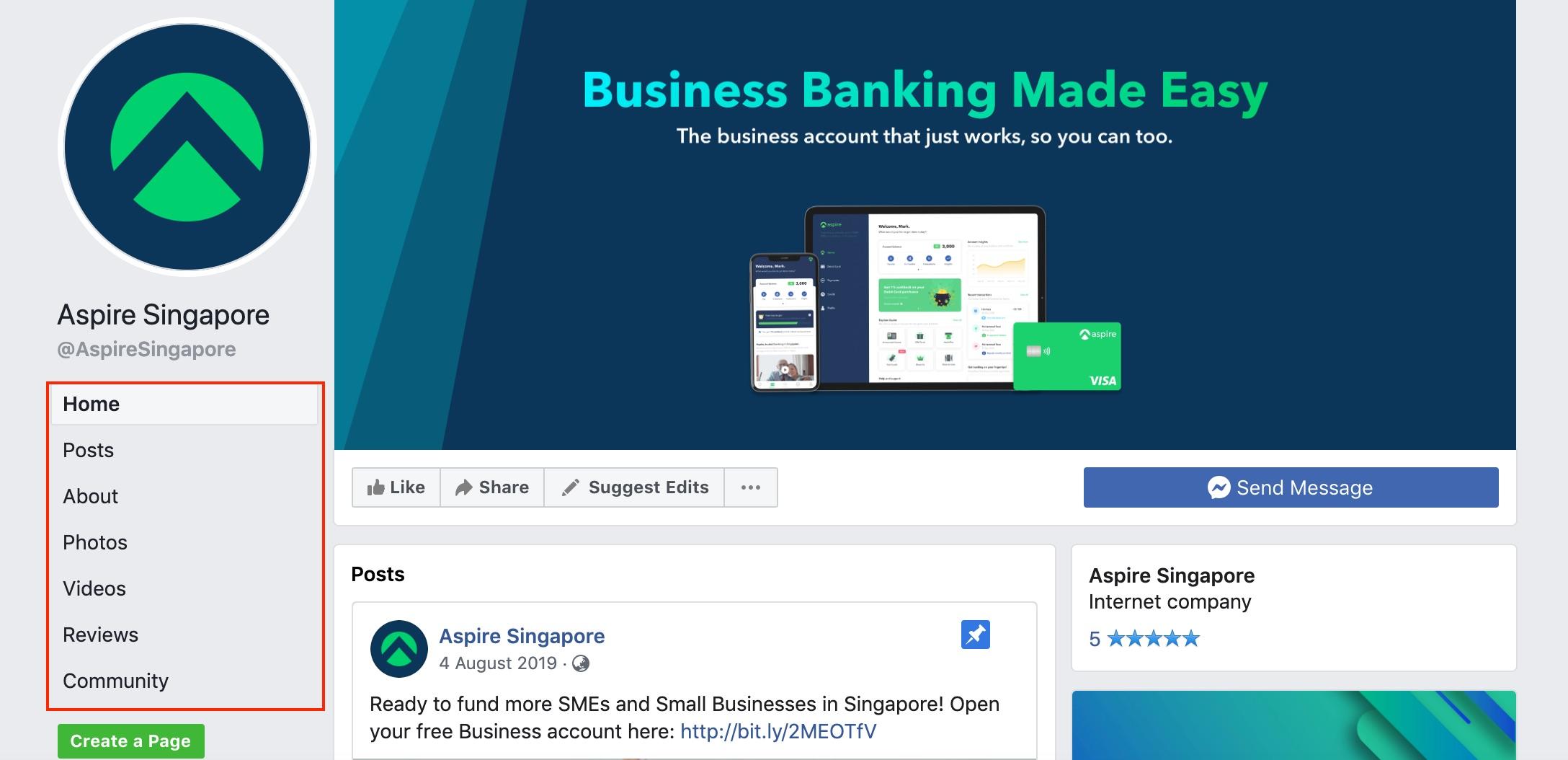 AspireSingapore Facebook page tab. CC: AspireSingapore Facebook page