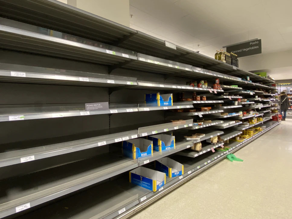 Empty shelves due to items being out of stock