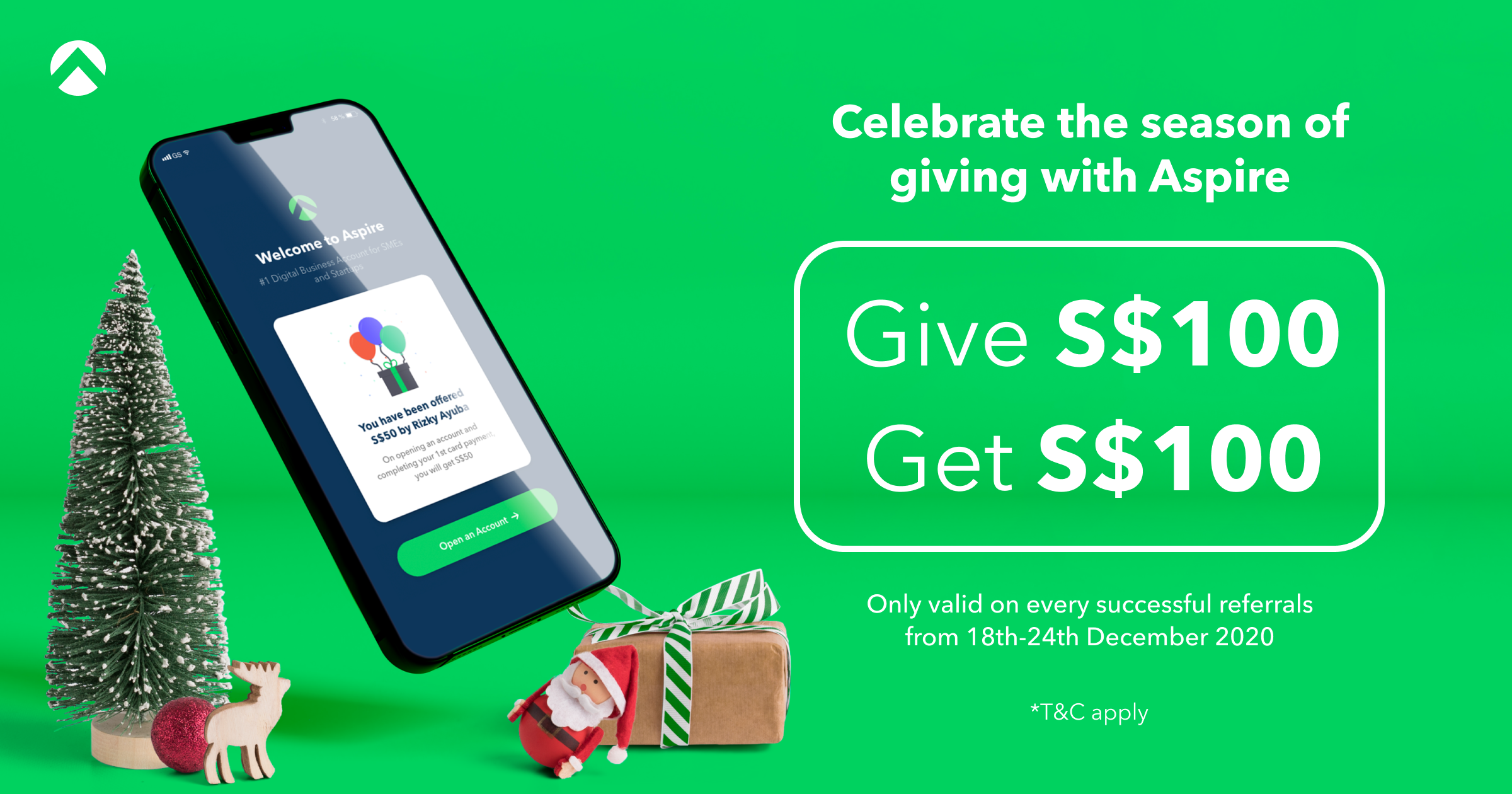 We're doubling our referral rewards this Christmas! Give S$100 Get S$100