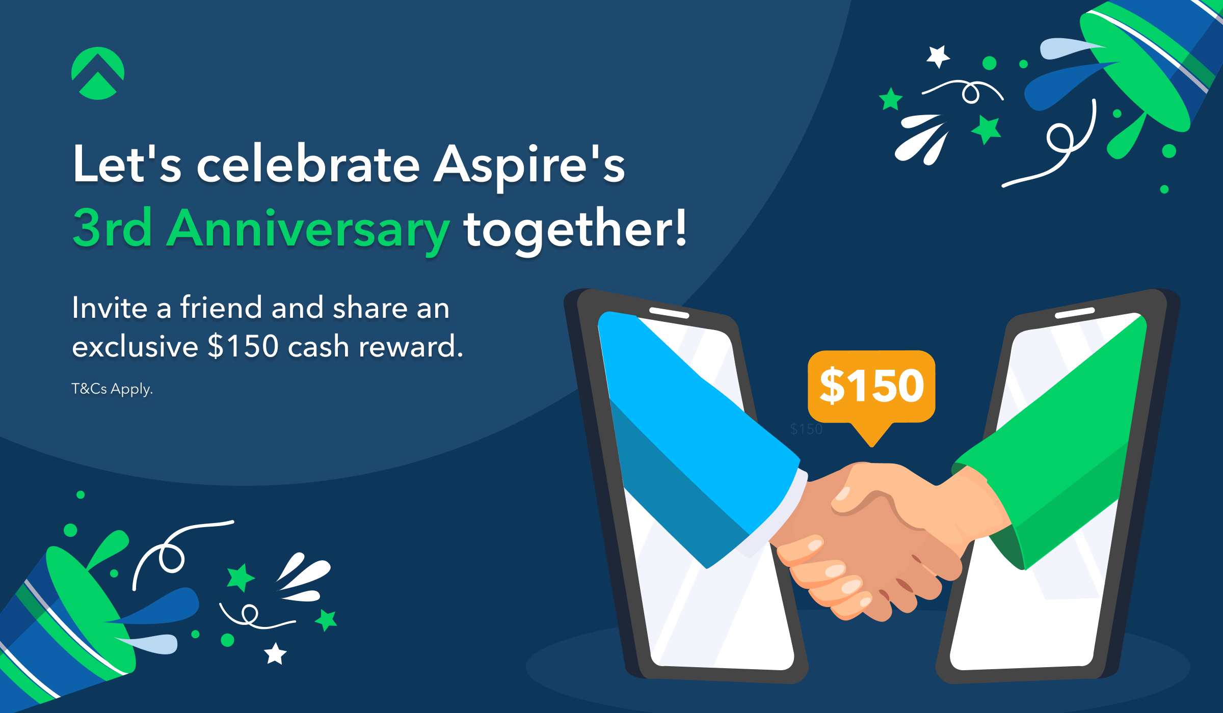 Celebrate Aspire's 3rd Anniversary With Us! Refer a friend and share an exclusive $150 cash reward
