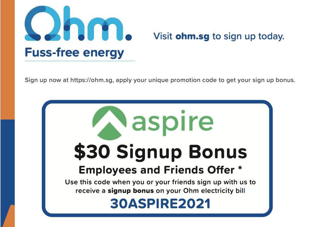 Ohm energy singapore sign up bonus with aspire