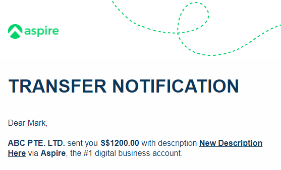 Transfer descriptions now available in transaction email notifications