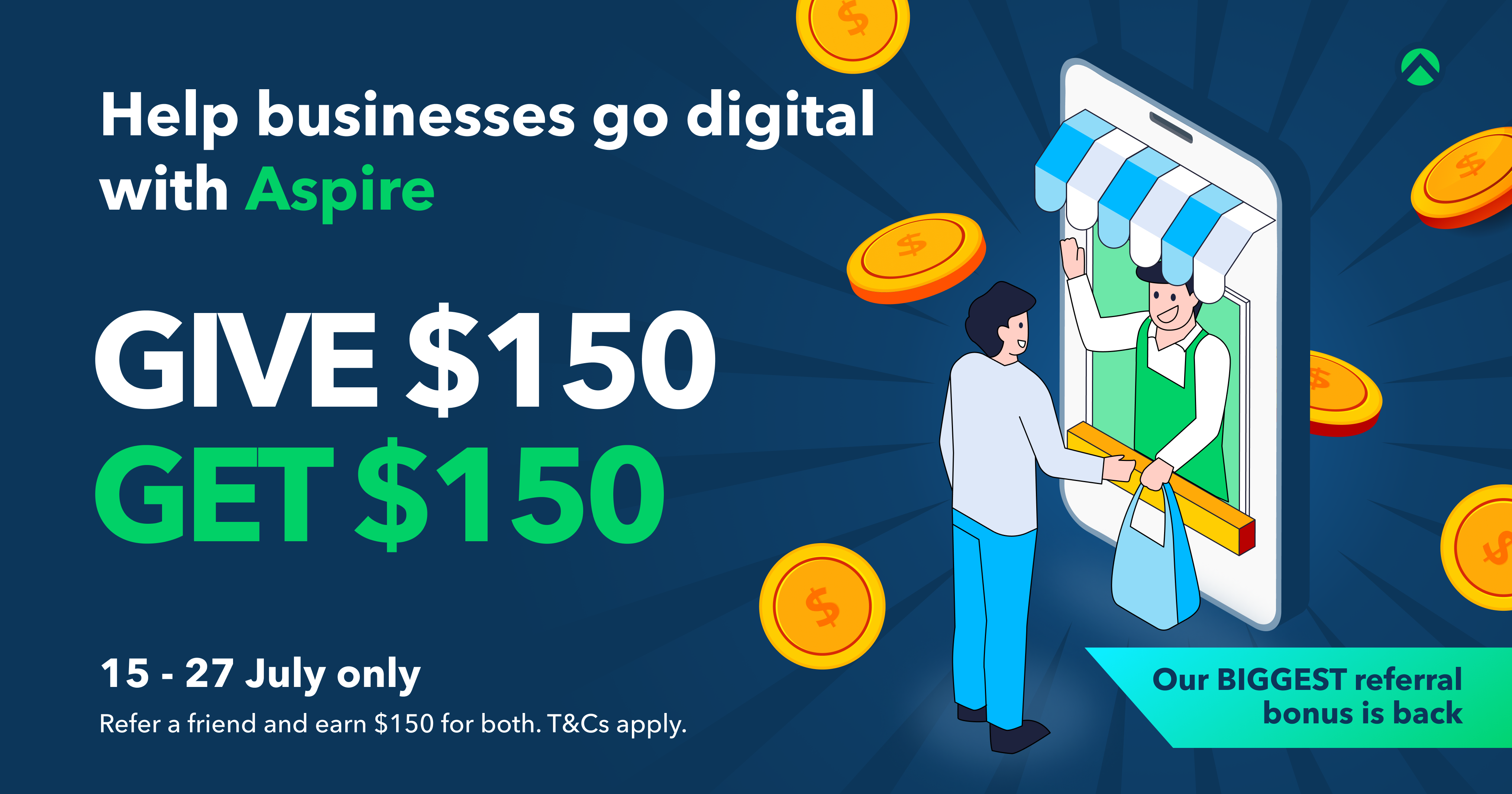 Take home $150 cash with Aspire's latest (and biggest) referral promotion!