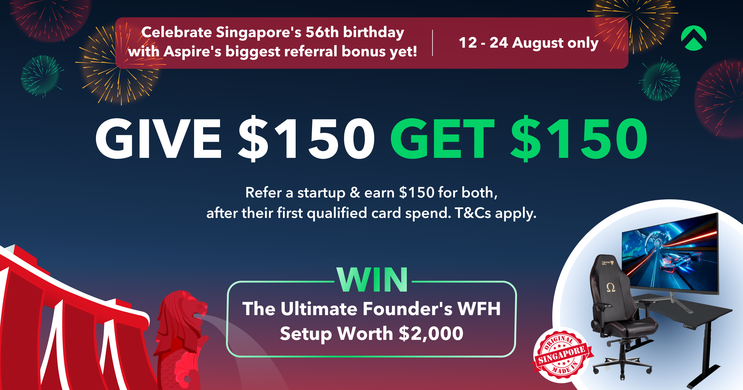 [Aspire National Day Giveaway] Stand To Win The Ultimate Founder's WFH Setup Worth $2,000