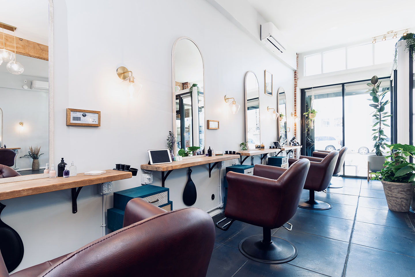Tufted Salon Chairs at The Hair Parlor on 8th in Los Angeles