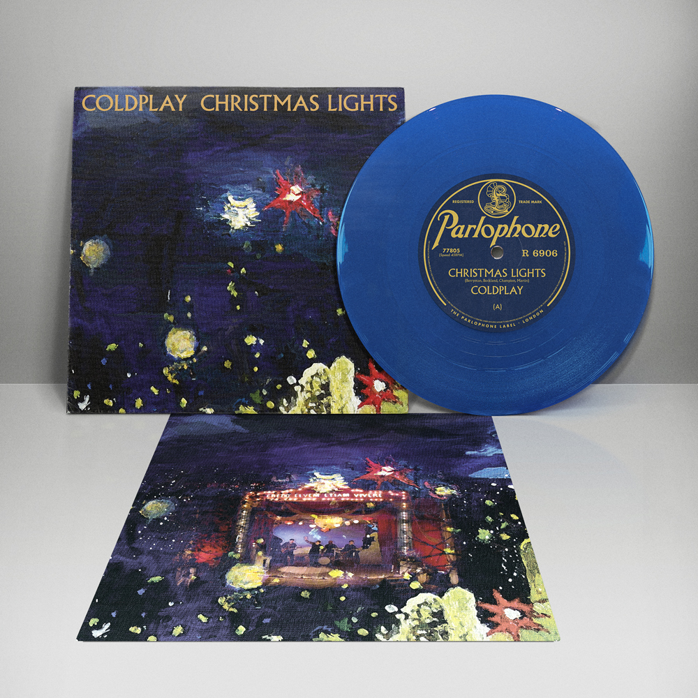 """Coldplay - Christmas Lights Limited Edition 7"""" Blue Vinyl 2900 Made"""