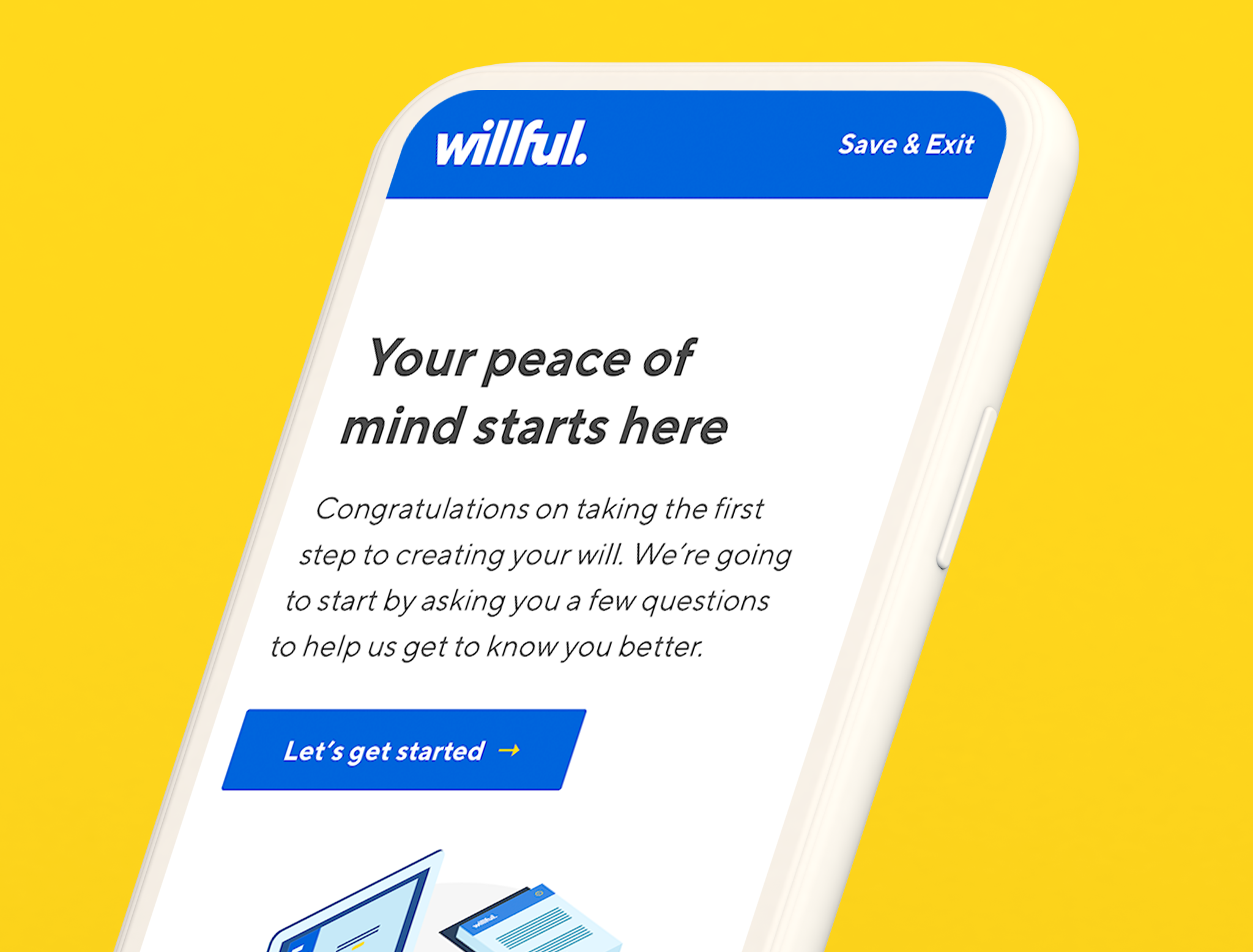 Welcome screen on Willful web app on a phone