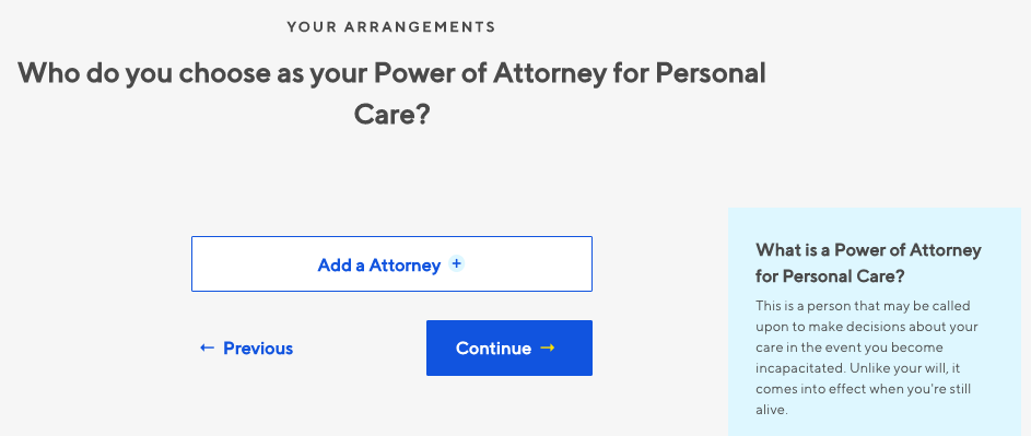 Willful Power of Attorney for Personal Care Screenshot