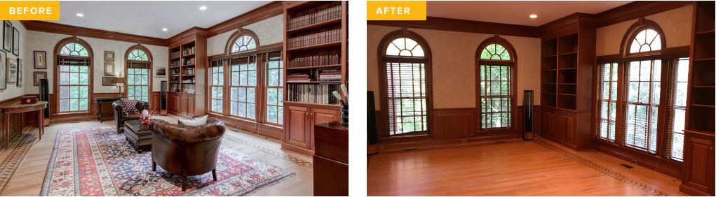 Before and after image of home after an estate sale
