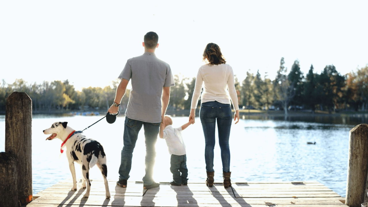 Young family looking out on a lake