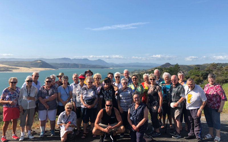 Tour group at Far North in New Zealand