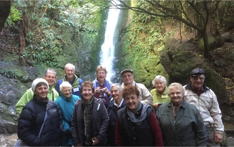 Tourist enjoying a waterfall at Christchurch