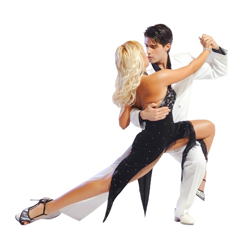 couple dancing argentine tango in dance costumes