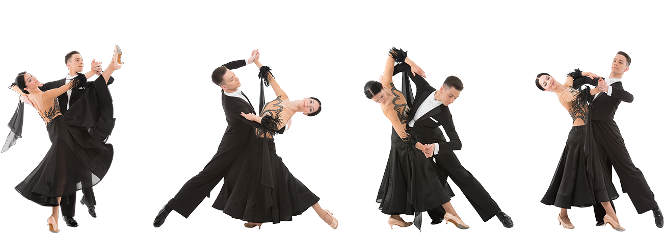 four couples dancing ballroom in dance costumes