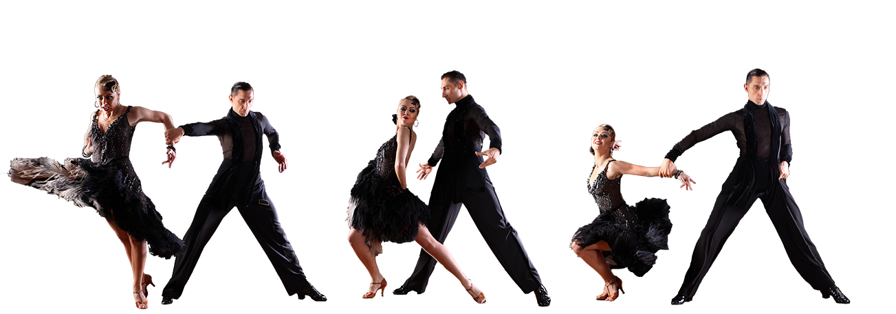 four couples dancing latin american dances in dance costumes