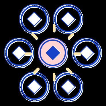Símbolos redondos abstratos