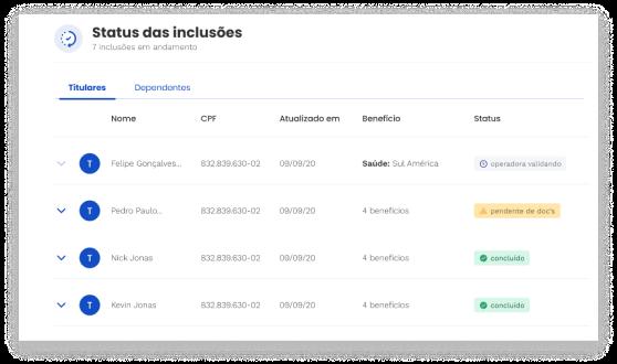 Imagem da tela de status de inclusão do produto da Pipo Saúde.