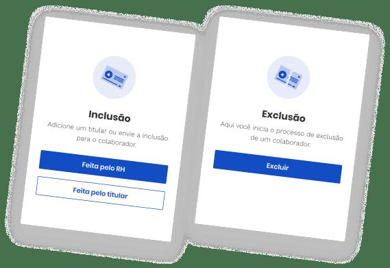 imagem do produto da pipo, mostrando os cards de inclusão e exclusão de funcionários no plano de saúde.