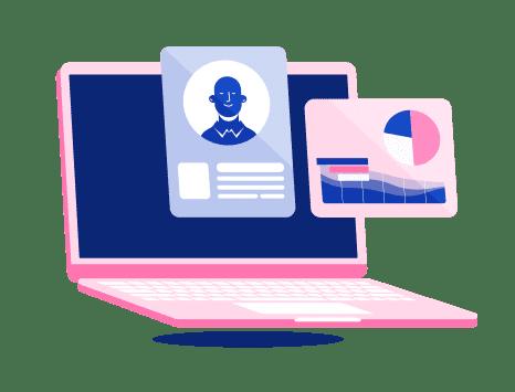 Ilustração mostrando como a Pipo ajuda na gestão digital dos benefícios de saúde