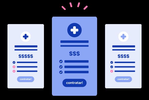três opções de benefício de saúde