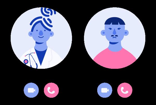 video chamada entre médica e paciente