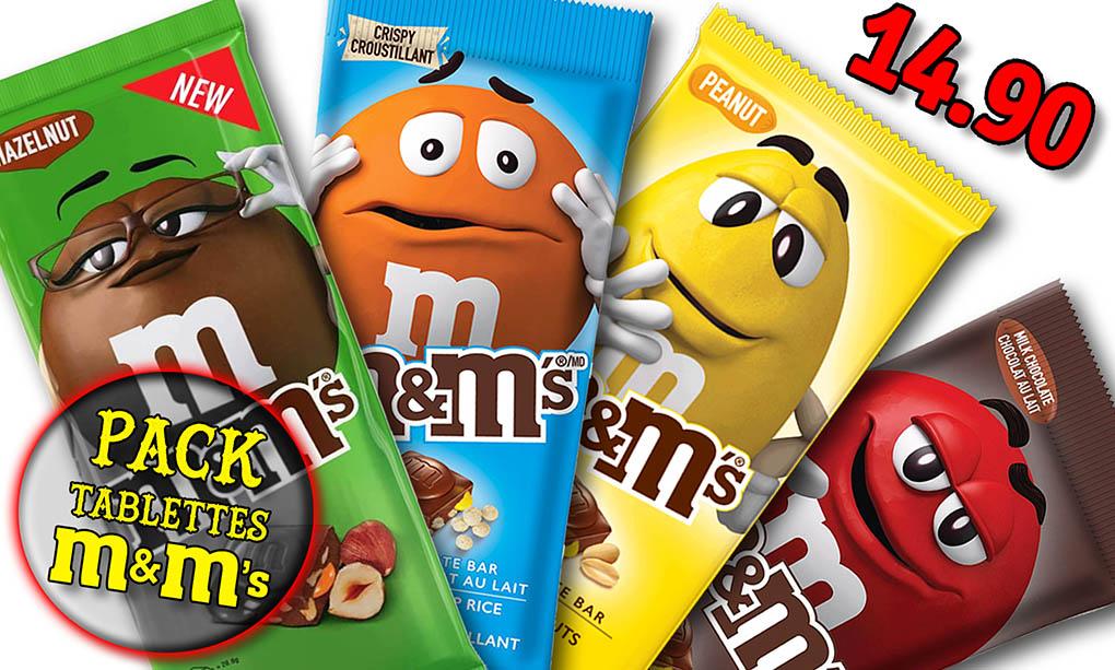 Promotion produits M&Ms, tablette M&Ms noisette, tablette M&Ms cacahuètes, tablette M&Ms riz croustillant, tablette M&Ms chocolat blanc