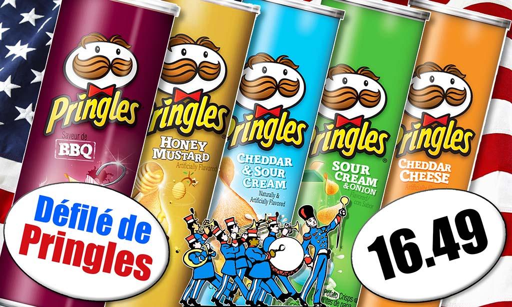 Promotion Pringles chips salées épicerie du monde Candious, Pringles sauce barbecue, Pringles miel et moutard, Pringles cheddar et crème fraîche, Pringles oignons et crème fraîche, Pringles cheddar