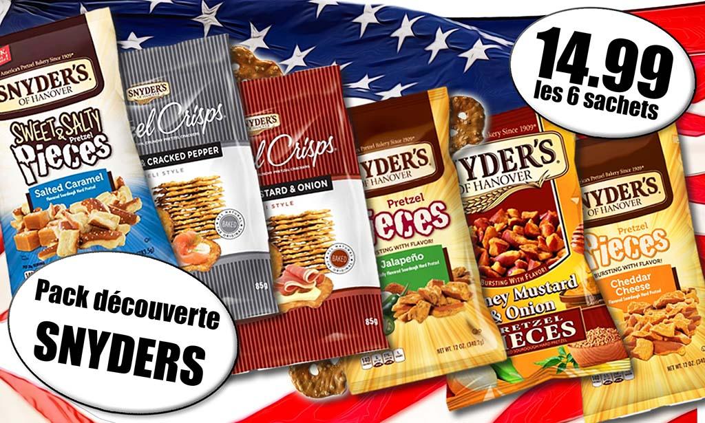 "Promotion produits américains Snyder's, Snyder's ""Jalapeno"", Snyder miel moutard et oignon, Snyders au cheddar, Snyders chips de bretzels sel et poivre, Snyder's chips de bretzels miel, moutarde oignons"