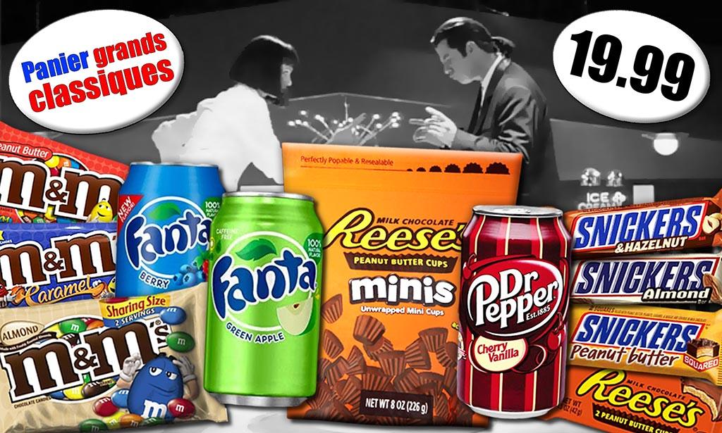Promotion M&Ms beurre de cacahuète, M&Ms caramel, M&Ms amandes, Snickers beurre de cacahuète, Reese's beurre de cacahuète, Fanta pomme rouge, Fanta pomme verte, Dr Pepper cerise et vanille