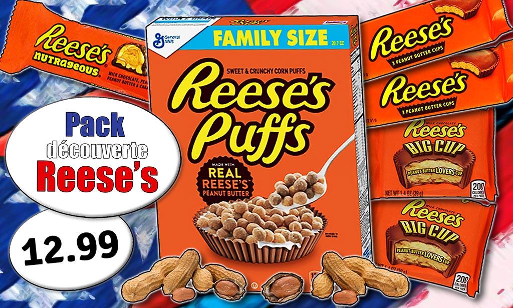 """Promotion Reese's Candious épicerie en ligne, céréales Reese's, """"Big Cup"""", coupes au beurre de cacahète, barre aux noix"""