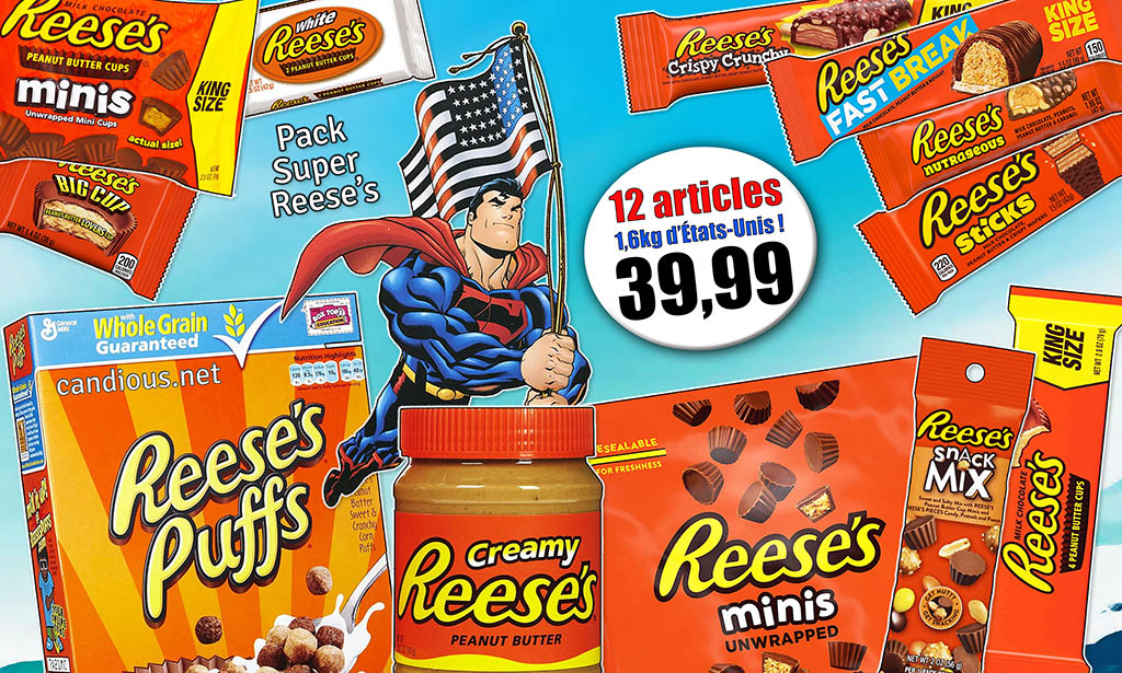 Promotion produits Reese's, pot de crème beurre de cacahuètes, céréales, mini-cups, mélange grignotage, sticks