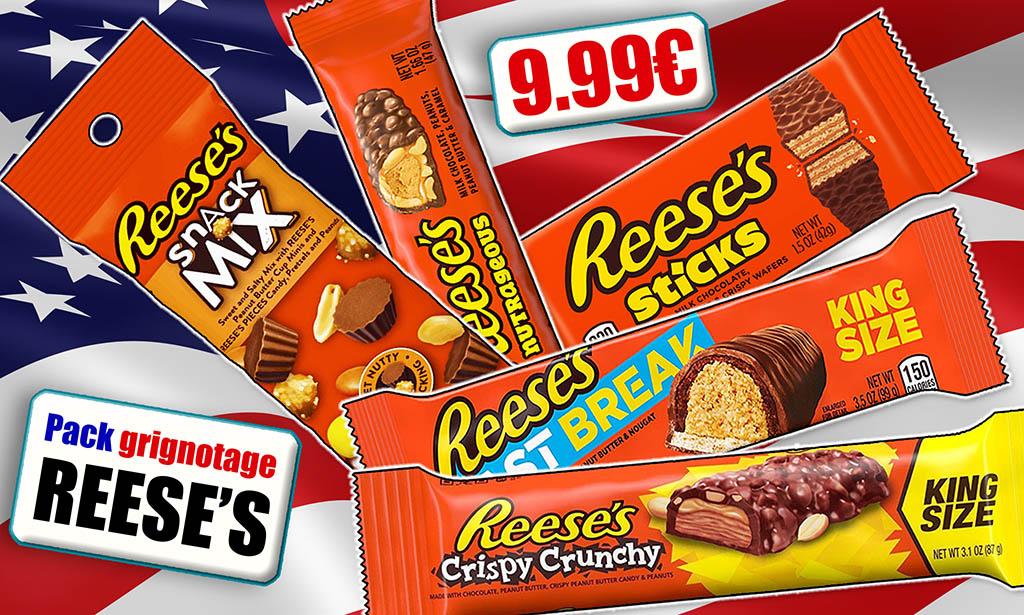 Promotion Reese's epicerie en ligne Candious, grignotage, gaufrettes, barre chocolat, beurre de cacahuètes