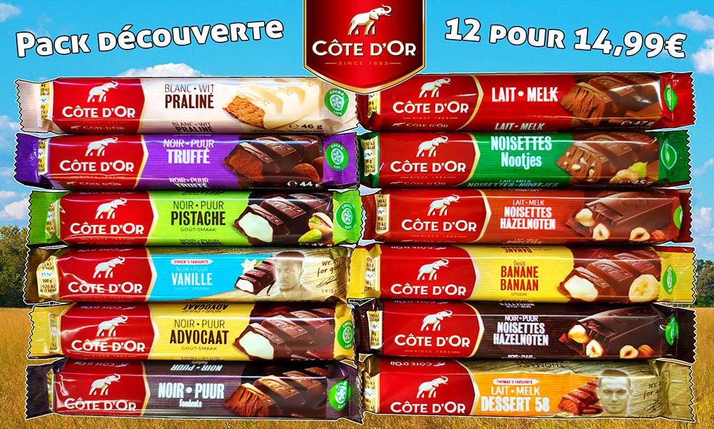 Promotion Côte d'Or chocolat pistache, praline, truffe, vanille, chocolat noir, chocolat au lait, noisette, banane, mousse au chocolat