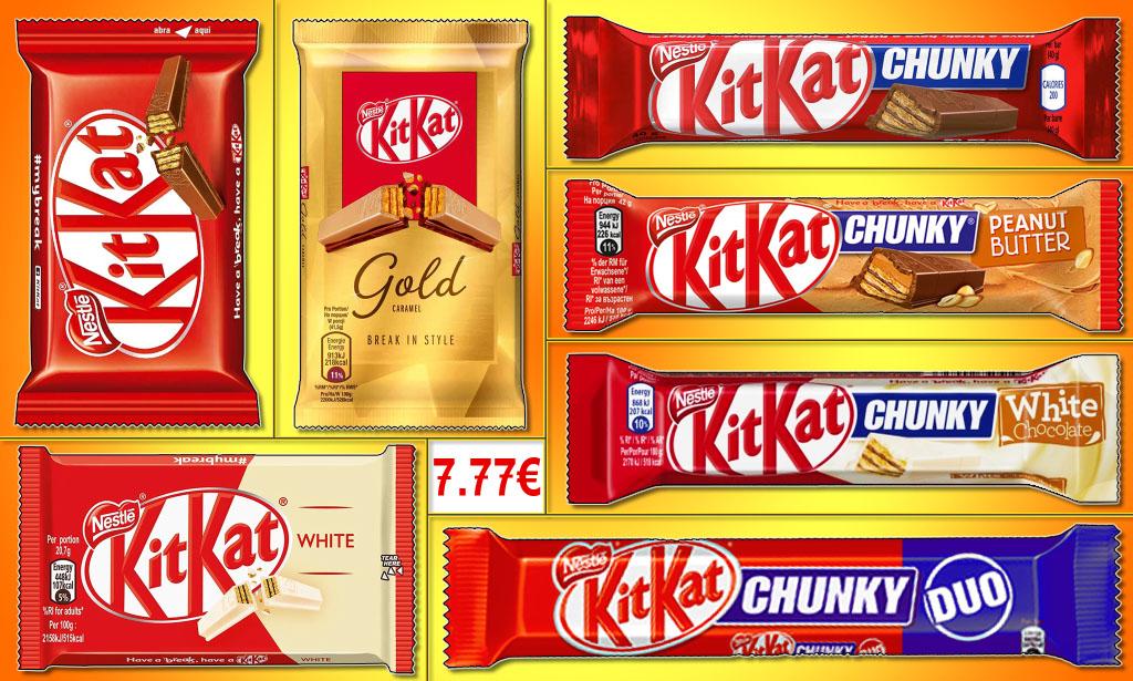 Promotion kitkat epicerie en ligne Candious, kitkat chunky peanut butter, kikat chunky classic, kitkat duo, kitkat chunky white, kitkat white, kitkat gold, kitkat classic