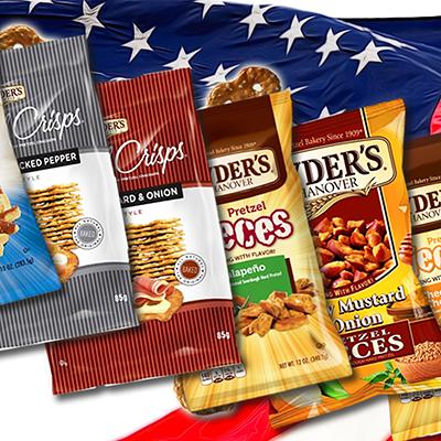 6 paquets de chips de bretzels, et de petits morceaux de bretzels croquants, de la marque Snyder's. Votre plus grand allié pour les apéros façon USA réussis !