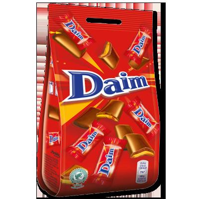 """Vous les connaissez peut-être à travers le """"McFlurry"""" ! Les bonbons de la marque Daim sont de croustillantes petites parcelles de caramel enrobées de chocolat au lait fondant. Emballés individuellement."""