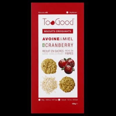 "TooGood biscuits croquants ""Cranberry"" (125g)"