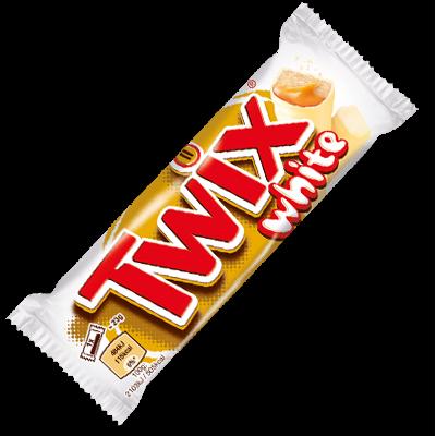 L'inimitable barre Twix, vous savez, avec son nougat onctueux, son caramel fondant, son lit de cookie croquant, le tout enrobé de chocolat au lait ? Cette barre remplace le chocolat au lait par du chocolat blanc, pour optimiser la douceur de ce snack :)