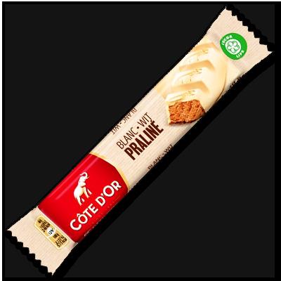 Avec son chocolat blanc croquant et sa mousse pralinée exquise, cette barre Côte d'Or offre un contraste aussi agréable pour les pupilles que pour les papilles.