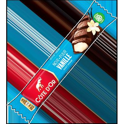 Un gros dur à l'extérieur, avec son armure de chocolat noir croustillant, ce produit de la marque Côte d'Or cache un intérieur fondant et délicieux à la vanille.