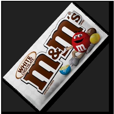 Le croquant du M&M's se marie parfaitement au fondant du chocolat blanc dans ce sachet hautement contrasté.