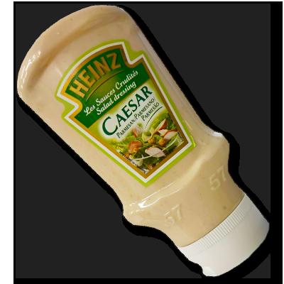 Généralement utilisée pour faire de belles salades avec de la laitue, du poulet et des croutons, la sauce César de Heinz au parmesan n'attend que vous pour diversifier ses activités. Un vrai délice avec des chips, par exemple, au moment de l'apéritif.