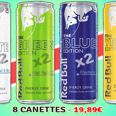 "Pack Redbull ""White, Green, Blue & Yellow"" (8 x 250ml)"