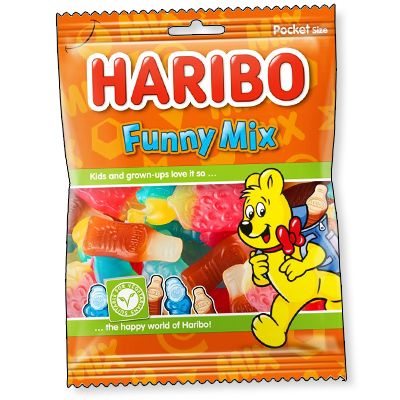 Le Funny Mix Haribo propose aux tous les gourmands d'apprécier une friandise pleine de goût et vegan. S'y cachent des bonbons en forme de bouteilles de Coca, d'étoiles et de fraises.