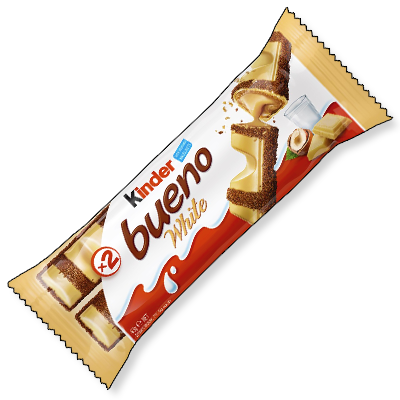 Vous le cherchiez sans cesse sur le moteur notre site : nous sommes heureux de mettre à votre disposition le fabuleux Kinder Bueno White ! Une gaufrette fourrée à la crème et recouverte d'onctueux chocolat blanc vous attend dans ce bel emballage.