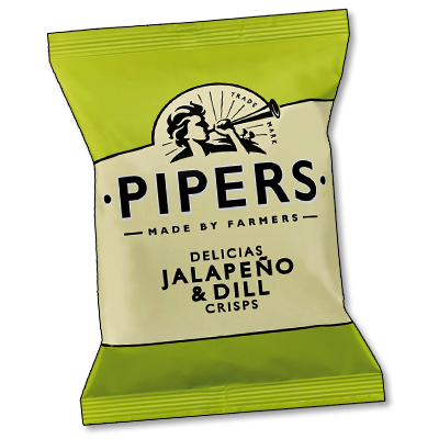 """Pipers Crisps """"Jalapeno & Dill"""" (40g)"""