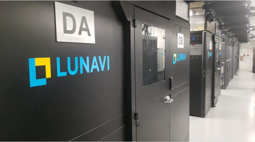 lunavi logo on data center containment pods for green data center operations